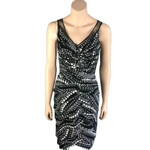 Adrianna Papell Mesh Geometric Abstract Dress 6